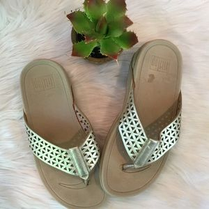 Fitflop Gold Thong Sandals, 7
